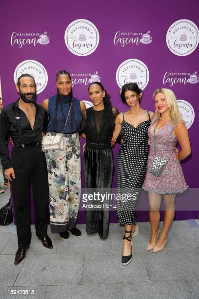 Massimo Sinato, Cassandra Steen, Barbara Becker, Shermine Shahrivar and Evelyn Burdecki attend the Lascana fashion show at Titanic Hotel on July 01,...