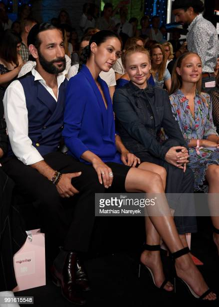 Massimo Sinato Rebecca Mir Anna Maria Muehe and Sonja Gerhardt attend the Riani show during the Berlin Fashion Week Spring/Summer 2019 at ewerk on...