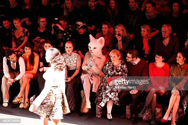 Massimo Sinato, Rebecca Mir, Lexy Hell, Maite Kelly, Florent Raimond, guest, Johanna Klum attend the Rebekka Ruetz show during Mercedes-Benz Fashion...