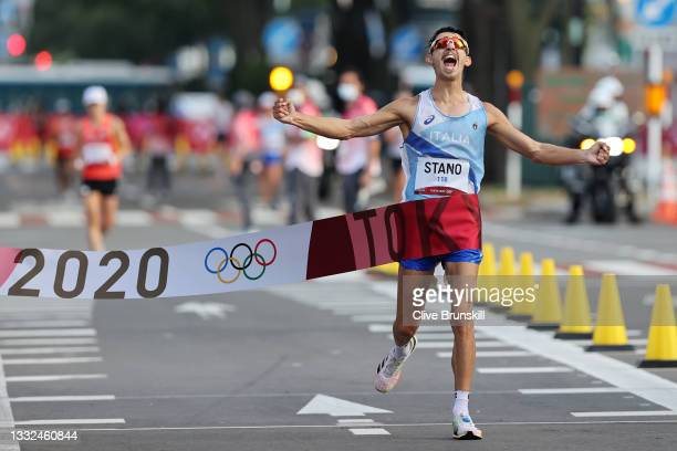 Massimo Stano of Team Italy wins the Men's 20km Race Walk on day thirteen of the Tokyo 2020 Olympic Games at Sapporo Odori Park on August 05, 2021 in...