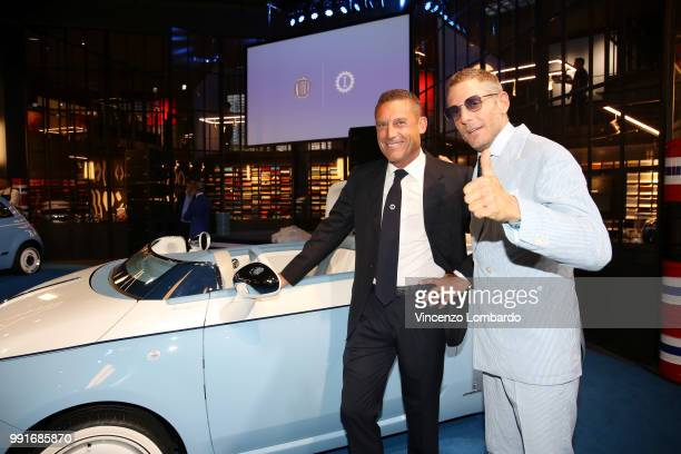 Massimo Suppancig and Lapo Elkann attend HAPPY BIRTHDAY FIAT 500 Event in Milan on July 4 2018 in Milan Italy