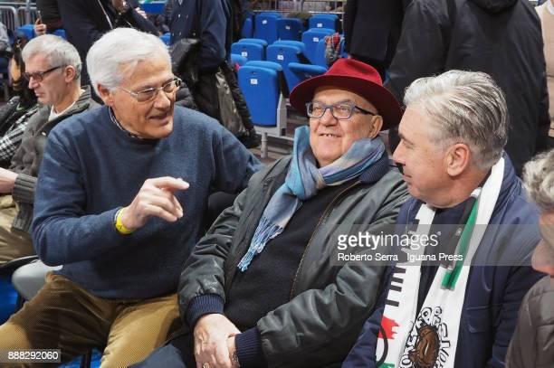 Massimo Zanetti owner of Segafredo and Alberto Bucci president of Segafredo meets the italian head coach of soccer teams Carlo Ancelotti during the...