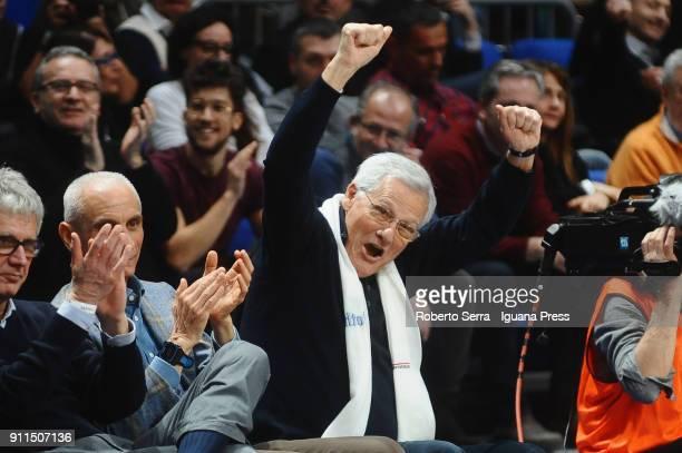 Massimo Zanetti owner of Segafredo celebrates during the LBA Lega Basket of Serie A match between Virtus Segafredo Bologna and Aquila Dolomiti...