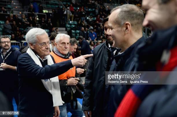 Massimo Zanetti owner of Segafredo meets Joe Saputo owner of Bologna FC football team during the LBA Lega Basket of Serie A match between Virtus...