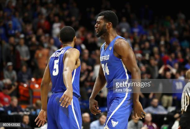 Massinburg reacts with Ikenna Smart of the Buffalo Bulls in the second half against the Arizona Wildcats during the first round of the 2018 NCAA...