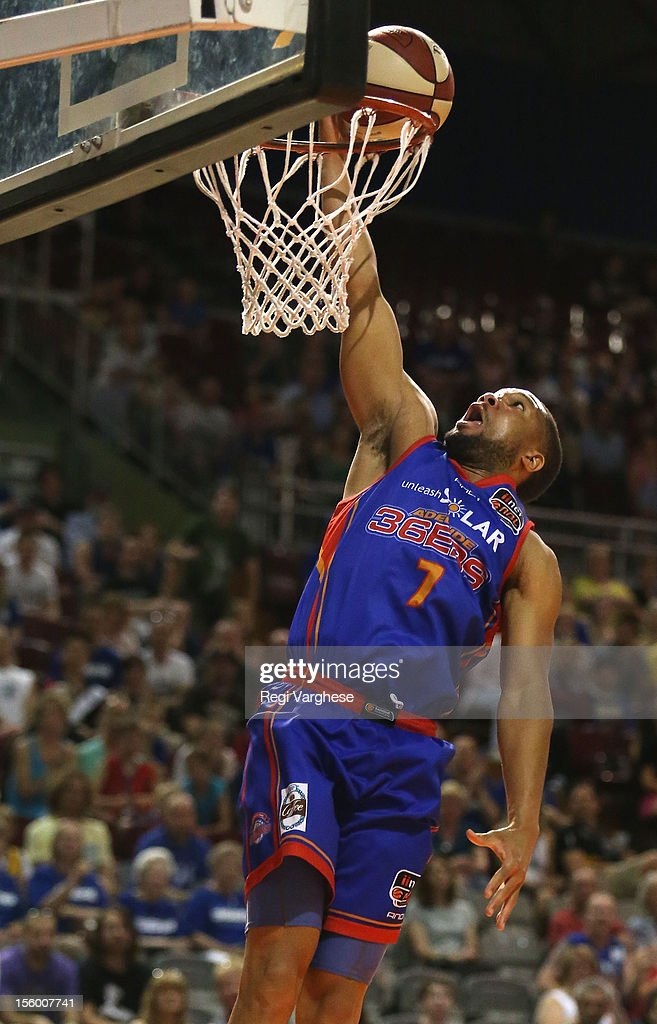 CJ Massingale of the 36ers scores a point during the round six NBL match between the Adelaide 36ers and the Perth Wildcats at Adelaide Arena on November 11, 2012 in Adelaide, Australia.