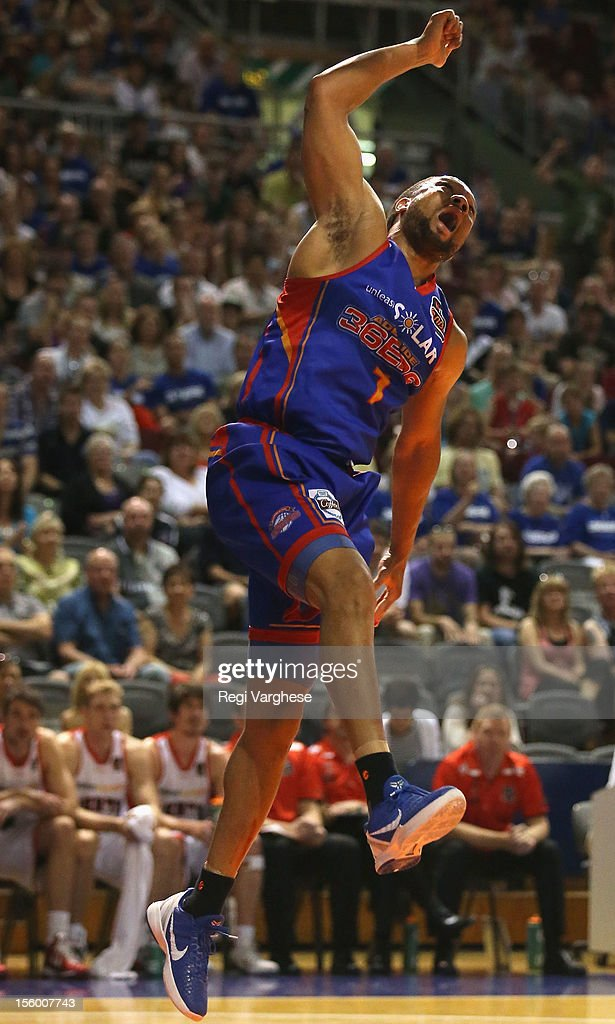 CJ Massingale reacts after scoring for the 36ers during the round six NBL match between the Adelaide 36ers and the Perth Wildcats at Adelaide Arena on November 11, 2012 in Adelaide, Australia.