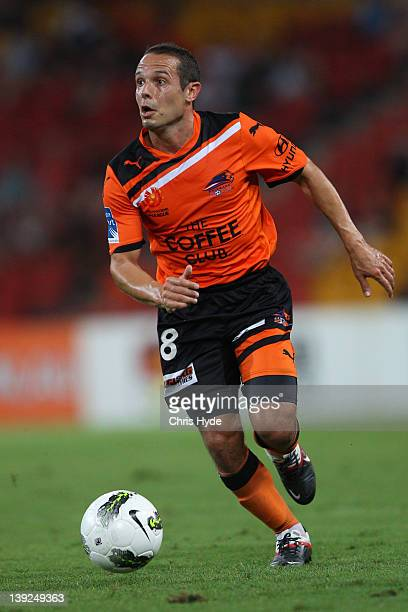 Massiomo Murdocca of the Roar in action during the round 20 ALeague match between the Brisbane Roar and the Melbourne Victory at Suncorp Stadium on...