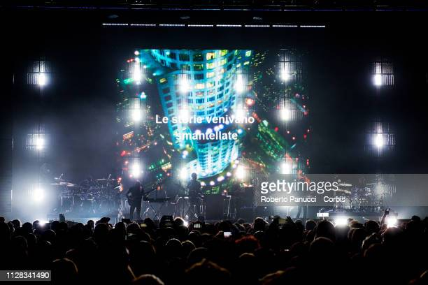 Massive Attack performs on stage at Palalottomatica on February 8 2019 in Rome Italy