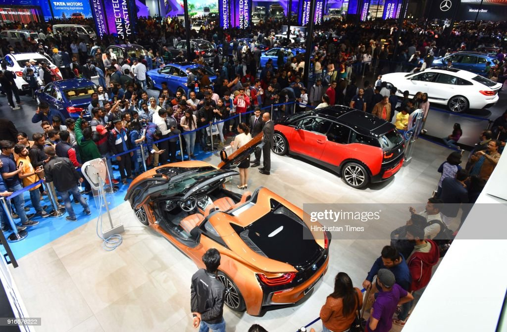 Massive Crowd At BMW Pavilion During The Auto Expo Motor Show - Pavilions car show