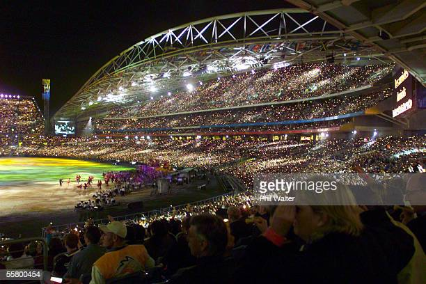 A massive crowd of around 110000 people watch the opening ceremony of the Sydney 2000 Olympic games held at Stadium Australia Friday