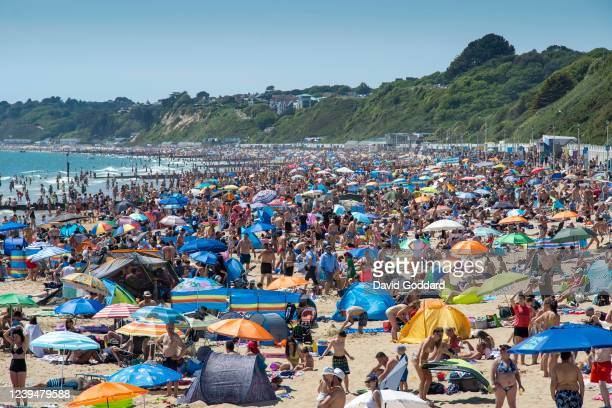 Massive crowds gather on Bournemouth beach making Social distancing very difficult on May 31 2020 in Bournemouth England The British government...