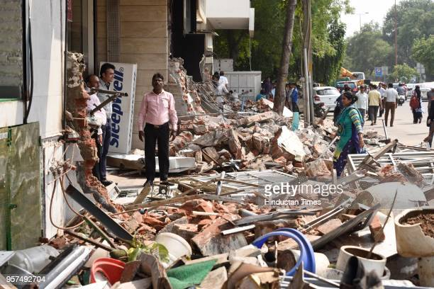 Massive encroachment removal drive carried by South Delhi Municipal Corporation at Bhism Pitamah Marg on May 11 2018 in New Delhi India
