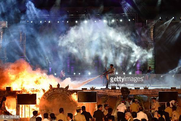 A massive fire breaks out during a 'Make in India week' cultural programme at Maharashtra Night at Girgaum Chowpatty on February 14 2016 in Mumbai...