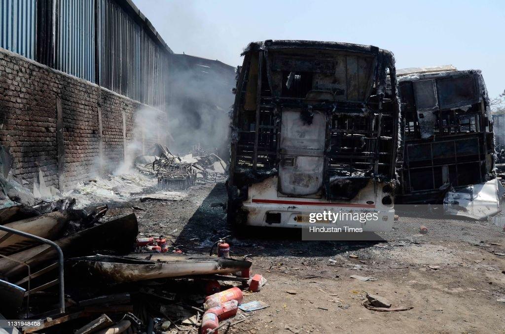 IND: Massive Fire At Pune Bus Garage In Shindewadi