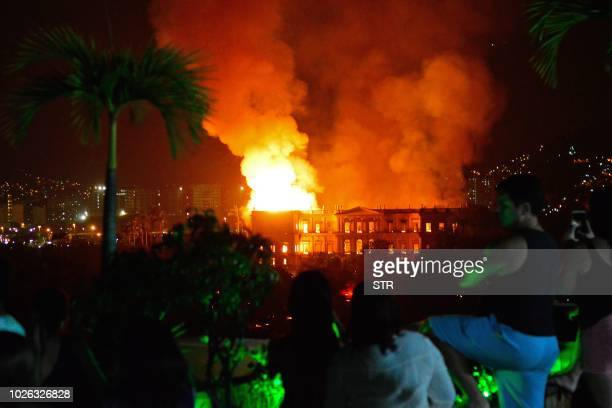 A massive fire engulfs the National Museum in Rio de Janeiro one of Brazil's oldest on September 2 2018 The cause of the fire was not yet known...