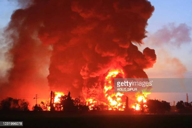Massive fire rages at the Balongan refinery, operated by state oil company Pertamina, in Indramayu, West Java, on March 29, 2021.