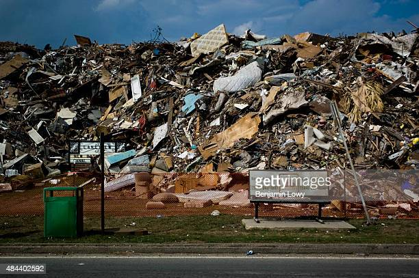 A massive garbage dump for flood debris lies in one of New Orlean's major parks on November 13 following Hurricane Katrina's devastation of the city