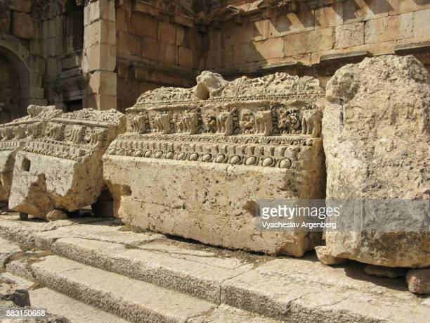 massive granite blocks of baalbek temple - argenberg stock pictures, royalty-free photos & images