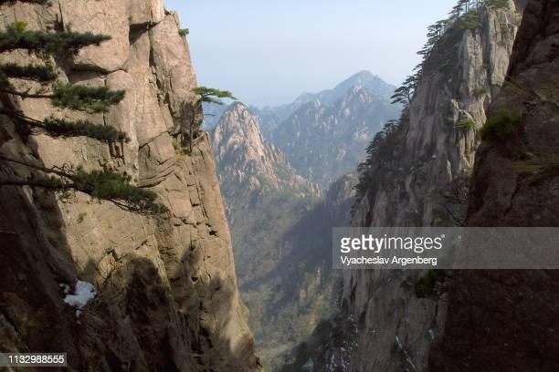massive granite cliffs of huangshan mountains, china - argenberg imagens e fotografias de stock