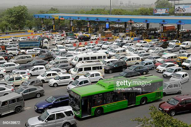 Massive jam at DND flyover as Samajwadi Party activists and workers gathered in large number to welcome newly elected Rajya Sabha MP Surendra Singh...