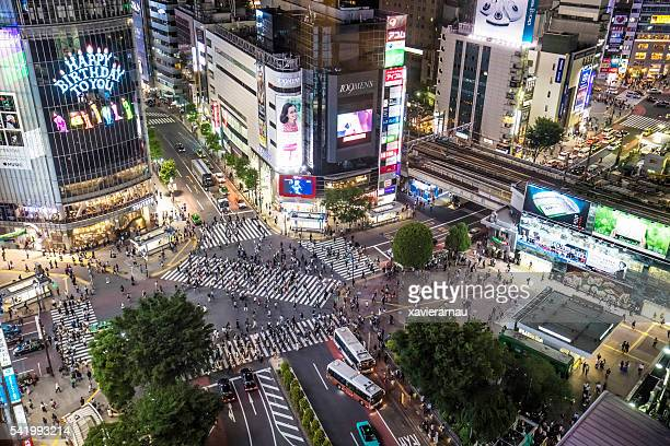 massive shibuya - overhead view of traffic on city street tokyo japan stock photos and pictures