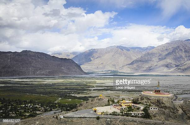 A massive statue of the Buddha as Maitreya dominates this view of the Nubra valley from Deskit monastery