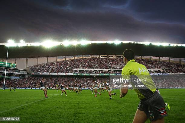 Massive storm hits during the Dragon's and Roosters ANZAC day clash at Allianz Stadium Sydney Australia Saturday 25th April 2015