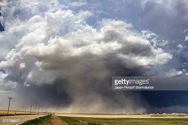 A massive supercell sucks up dust into the updraft leading to a violent dust storm, Sheridan Lake, Colorado, USA