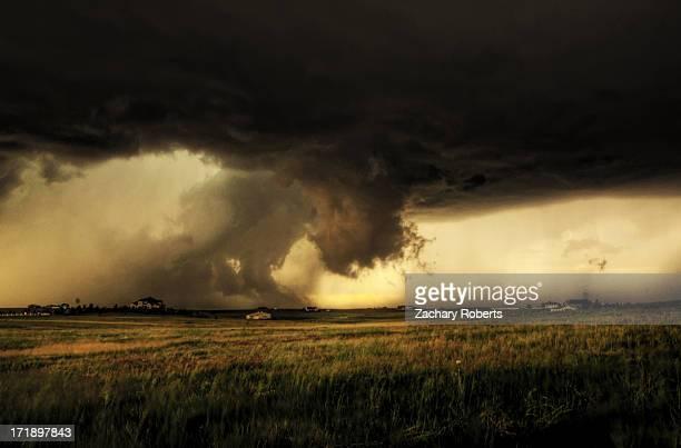 Massive tornado warned storm spins North of Elizabeth Colorado on June 6th 2012.