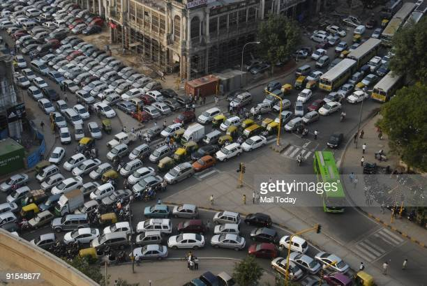 A massive traffic jam can be seen at the Connaught Place area in New Delhi on October 6 2009