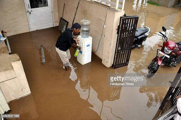 Massive water logging was witnessed in several parts after heavy rains of the city including Maxwell Hospital Govindpuram on July 12 2015 in...