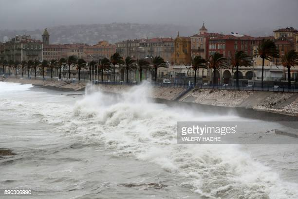 Massive waves break against the shore in the French riviera city of Nice southeastern France on December 11 as storm Ana smashes into France