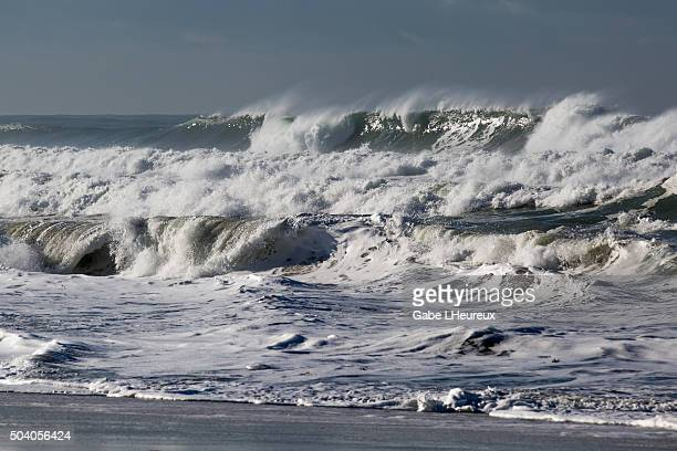 Massive waves crash on January 8 2016 in San Diego California A series of El Nino storm have hit the state in recent weeks bringing flooding to Los...