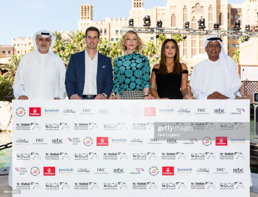 Massoud Amralla Al Ali, Artistic Director of DIFF, Christoph Grainger-Herr, CEO IWC Schaffhausen, Cate Blanchett, Hend Sabri and Abdulhamid Juma, Chairman of DIFF, attend the jury meeting of the sixth IWC Filmmaker Award at the 7th Dubai International Film Festival (DIFF), during which Swiss luxury watch manufacturer IWC Schaffhausen celebrated its long-standing passion for filmmaking on December 7, 2017 in Dubai, United Arab Emirates.