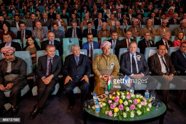 Massoud Barzani alongside Gilbert Mitterrand at the commemoration ceremony of the 4th anniversary of the death of Danielle Mitterrand inside the...