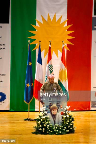 Massoud Barzani during his speech at the commemoration ceremony of the 4th anniversary of the death of Danielle Mitterrand inside the Erbil...