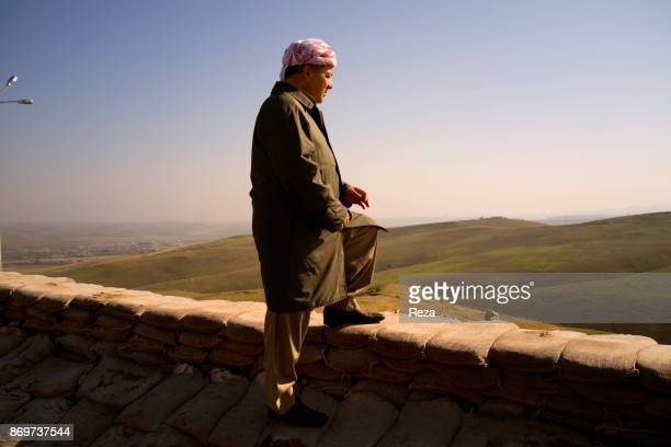 Massoud Barzani president of Regional Government of KurdistanIraq in his HQ near the frontline of Sinjar the city was freed from the Islamic State...