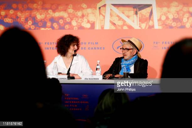 Massoumeh Lahidji and Elia Suleiman attend the It Must Be Heaven Press Conference during the 72nd annual Cannes Film Festival on May 25 2019 in...