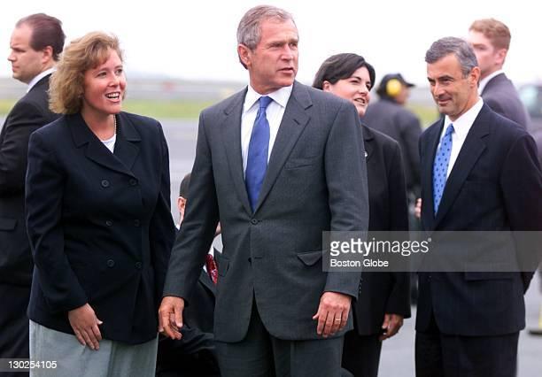 Massport Director Virginia Buckingham left Massachusetts Lt Governor Jane Swift second from right and Massachusetts Governor Paul Cellucci far right...