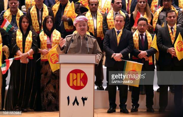 Massud Barzani leader of the Kurdistan Democratic Party speaks during an electoral rally for the Kurdistan Democratic Party in Arbil the capital of...