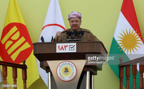 Massud Barzani leader of the Kurdistan Democratic Party speaks during an electoral rally for the Kurdistan Democratic Party at the Franco Hariri...