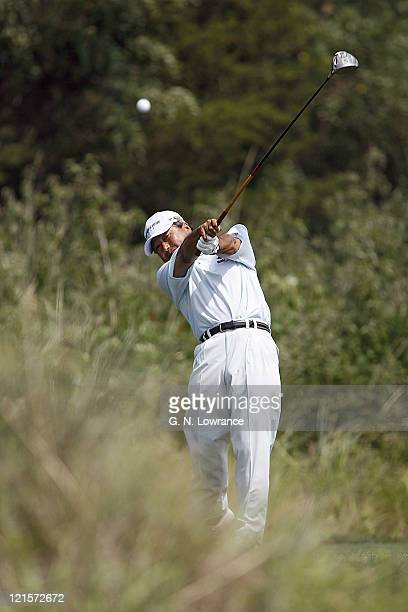 Massy Kuramoto hits a drive during the first round of the US Senior Open at Prairie Dunes Country Club in Hutchinson Kansas on July 6 2006
