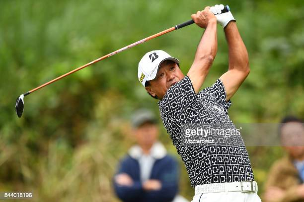 Massy Kuramoto of Japan hits from the 2nd tee during the first round of the Japan Airlines Championship at Narita Golf ClubAccordia Golf on September...