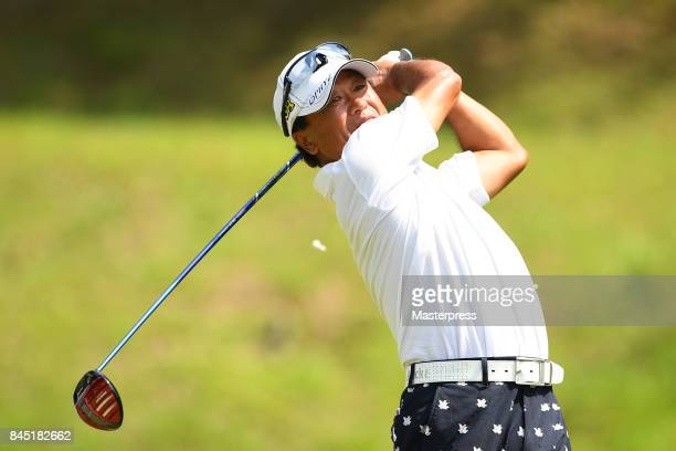 Massy Kuramoto of Japan hits his tee shot on the 11th hole during the final round of the Japan Airlines Championship at Narita Golf ClubAccordia Golf...