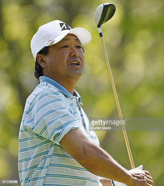 Massy Kuramoto of Japan hits his tee shot on the 7th hole during the third round of the 69th Senior PGA Championship at Oak Hill Country Club East...