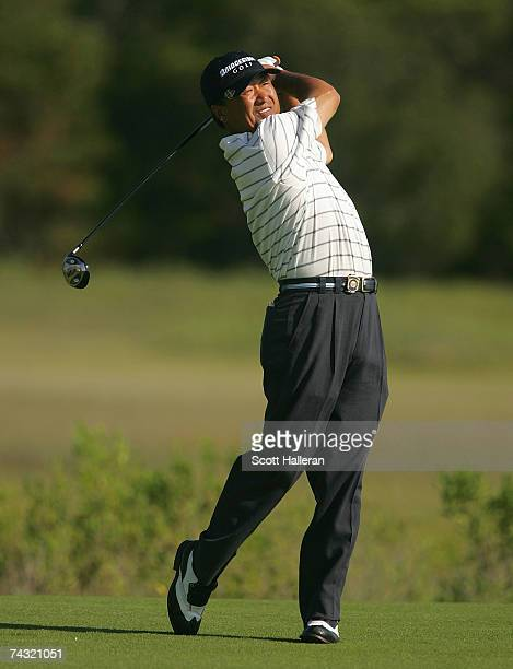 Massy Kuramoto of Japan hits his tee shot on the third hole during the second round of the Senior PGA Championship on May 25 2007 on the Ocean Course...