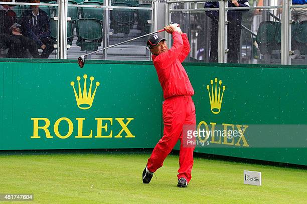Massy Kuramoto of Japan in action on the 1st hole during the second round of the Senior Open Championship played at The Old Course Sunningdale Golf...