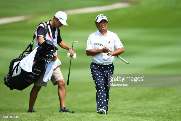 Massy Kuramoto of Japan looks on during the final round of the Japan Airlines Championship at Narita Golf ClubAccordia Golf on September 10 2017 in...