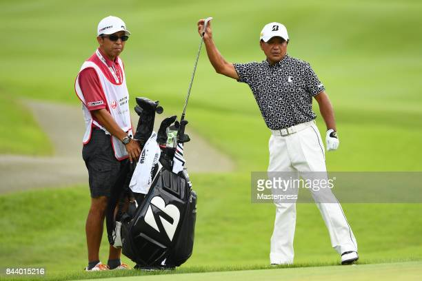 Massy Kuramoto of Japan looks on during the first round of the Japan Airlines Championship at Narita Golf ClubAccordia Golf on September 8 2017 in...